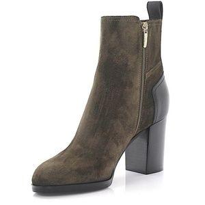 Sergio Rossi high heel suede zip up ankle boot